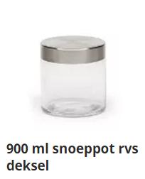 900 ml snoeppot rvs deksel